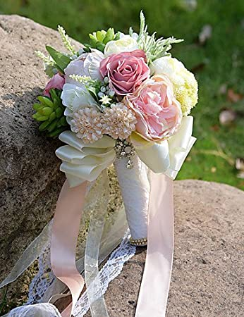 Amazon De Funan Hochzeitsblumen Rundformig Rosen Lilien