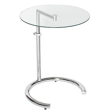 Beistelltisch glas  Design Beistelltisch EFFECT 50 - 70 cm Chrom Glas höhenverstellbar ...