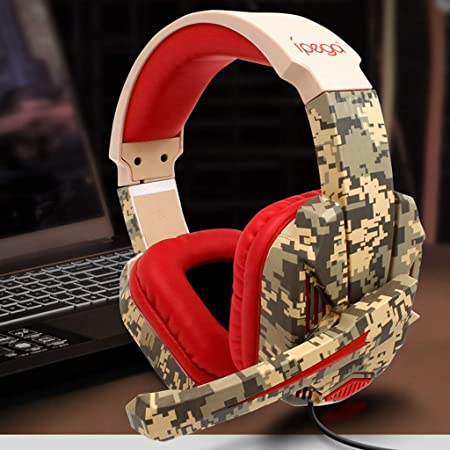 TeaBoy Gaming Headset PC iPad PS4 Headest,Camouflage Earmuffs,Computer Headphone with Noise Canceling Mic 3.5MM Stereo Sound Game Headphones for Xbox One//S Adjustable Volume Gaming Earphone