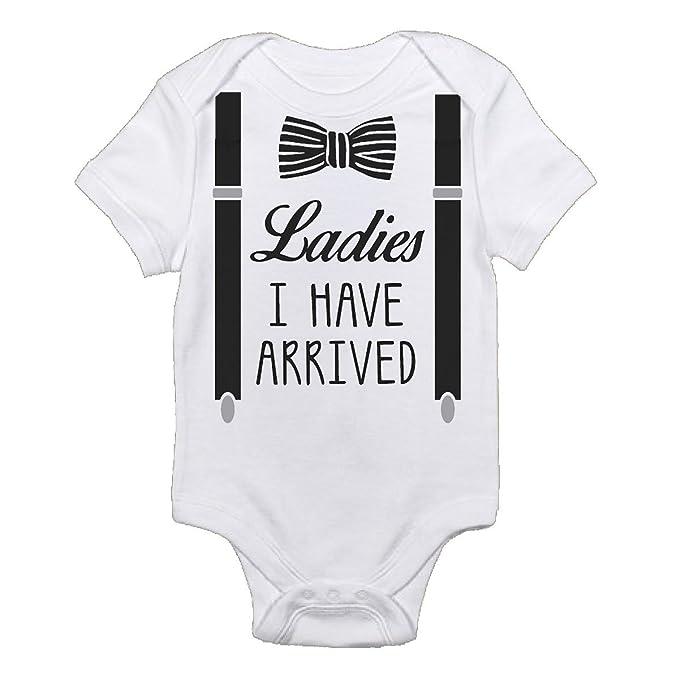 8c747c855 Bubble's Baby Bodysuits Ladies I Have Arrived Future Gentlemen With  Suspenders Design On Baby Onesie Super