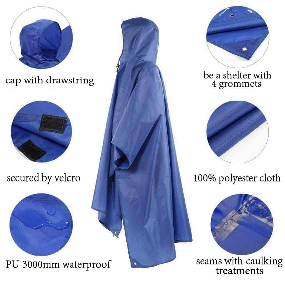 Hiking Pack Cover Waterproof Raincoat with Hoods Multi-Functional Raincoat for Outdoor Camping Cycling Tsonmall Rain Poncho