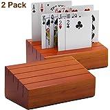 Juegoal Wooden Playing Cards Holder Rack Organizer for Kids Seniors, 2 Pack