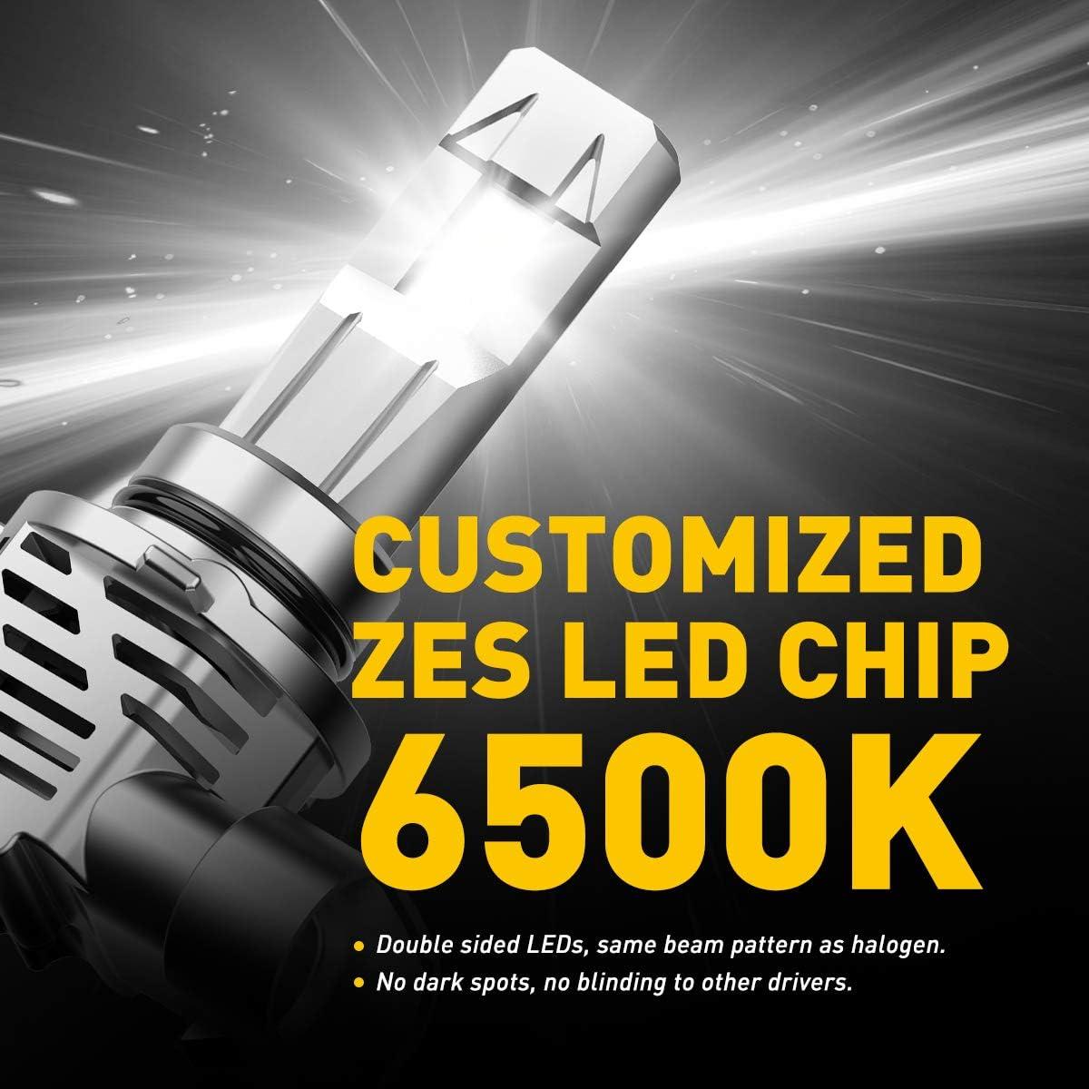 AUXITO 9006 LED Headlight Bulbs 12000LM Per Set 6500K Xenon White Mini Size HB4 Wireless Headlight Pack of 2