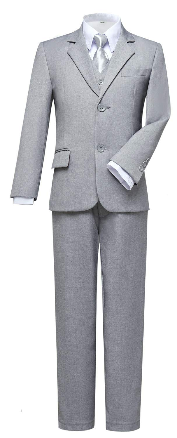 Visaccy Suits for Boys,Slim Fit Boys Suit Outfit for Toddler Kids Bathing Gray Size 7