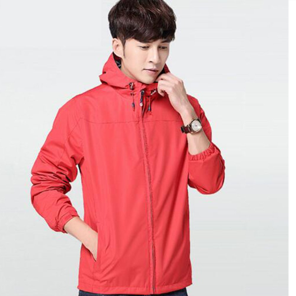 NIAN Sports jacket men spring and autumn Men's thin jacket casual hooded outdoor (Color : Red, Size : M)