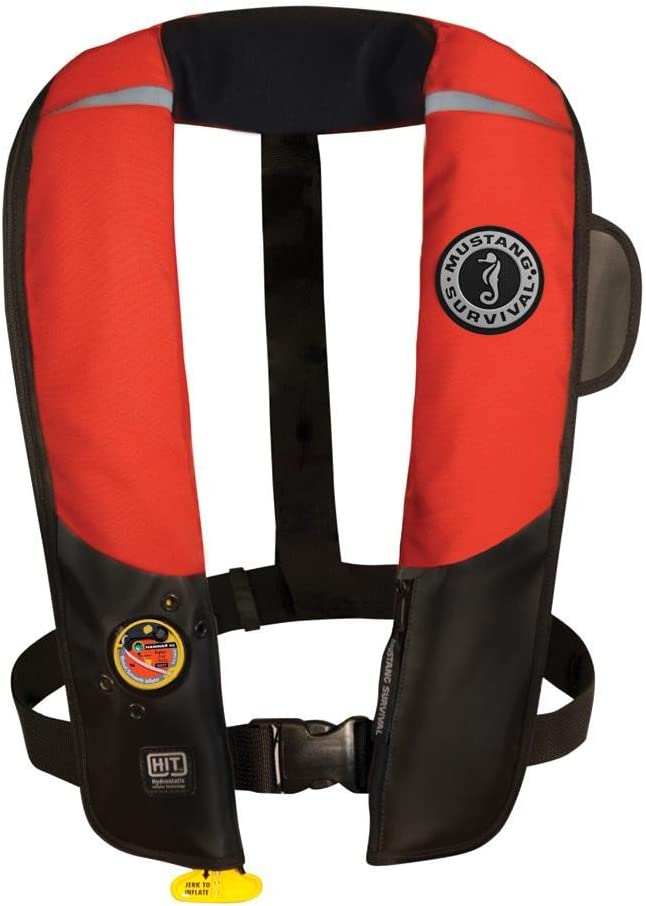 (赤/黒) - Mustang Survival Corp Inflatable PFD with HIT (Auto Hydrostatic) and Bright Fluorescent Inflation Cell