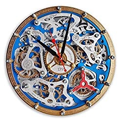 Automaton Tourbillon Blue Custom made Wall Clock, Handcrafted Steampunk Decor, Mechanical moving Gears, Wooden Home Kitchen Living Room and Office design, Personalized Decorative Art, Gift