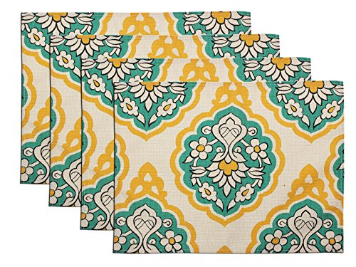 FLY SPRAY Washable Placemats Set of 4 Non-slip Textile Printing Flora Pattern Colorful Cotton Linen Durable Non-fading Table Mats for Kitchen (13''x 17'') for $<!--$11.94-->