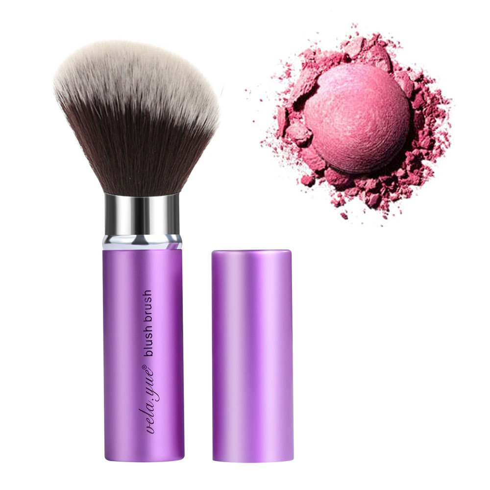 Retractable Angled Face Blush Bronzer Makeup Brush vela yue