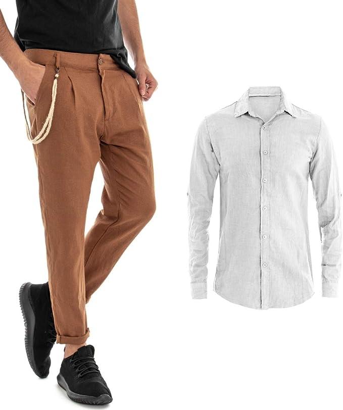 Giosal - Conjunto de Camisa y pantalón de Lino para Hombre, Color Blanco Bianco M: Amazon.es: Ropa y accesorios