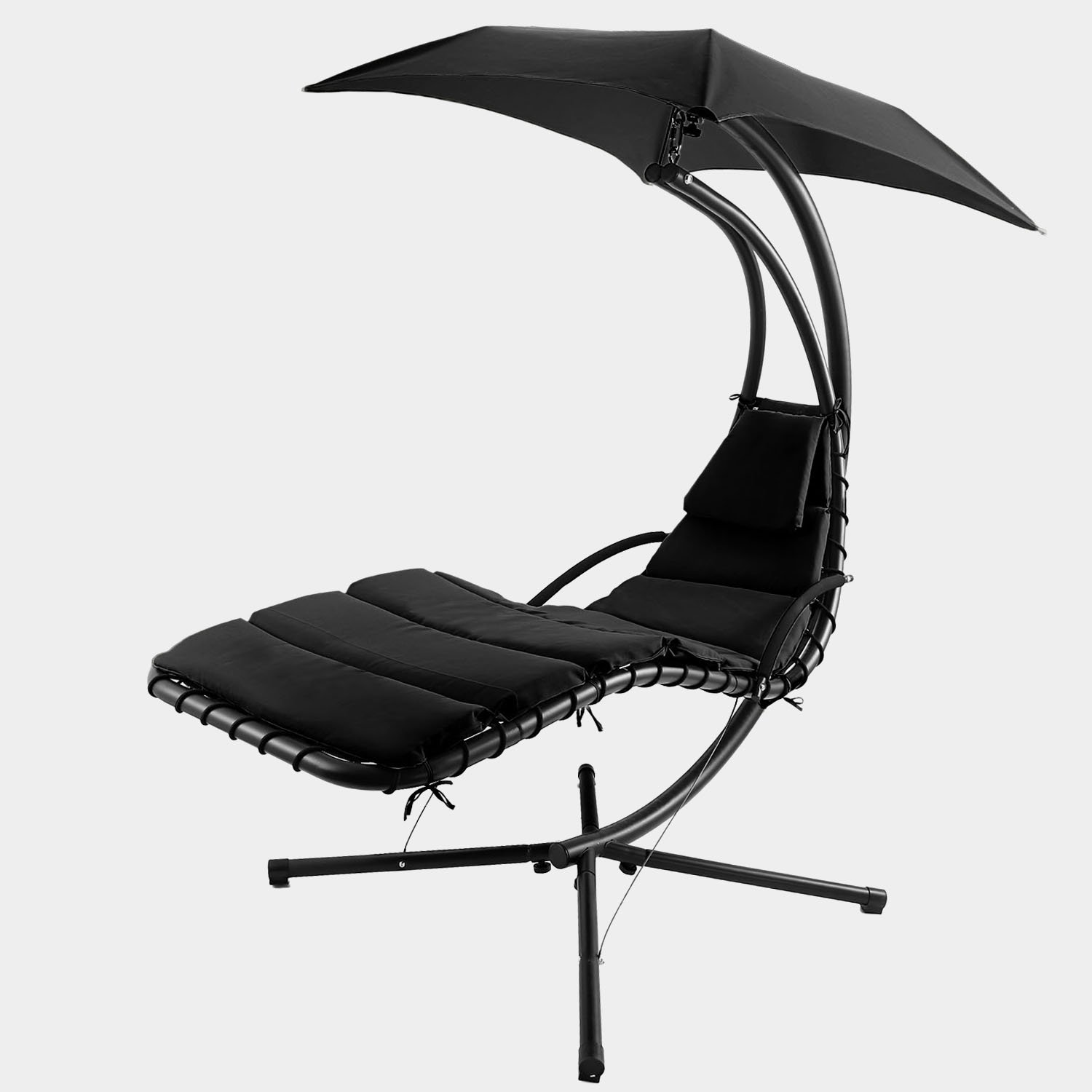 Vansop Hanging Chaise Lounger Chair Arc Stand Air Porch Swing Hammock with Canopy, 350lbs Max Weight Capacity (US Stock) (Black)