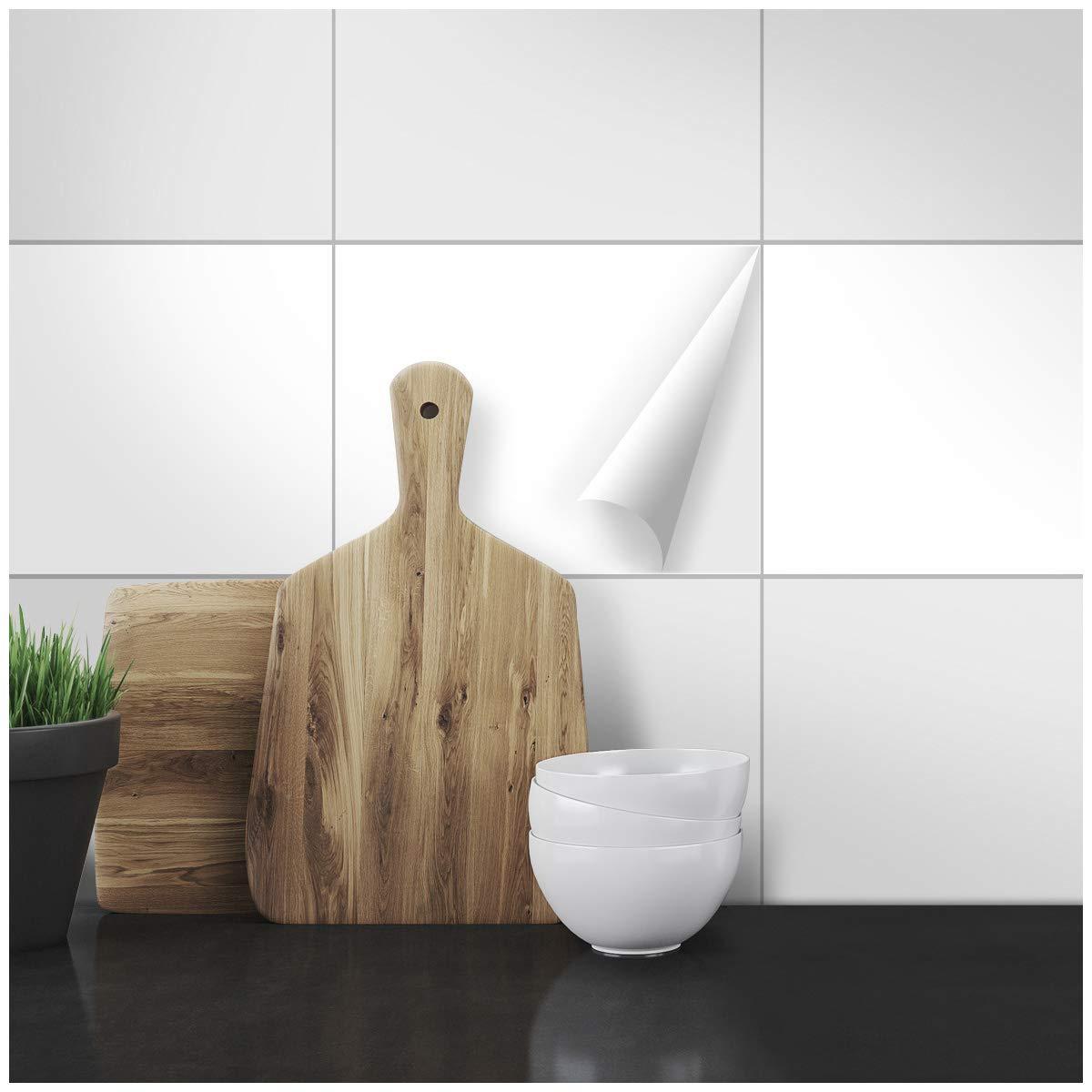 Wandkings Fliesenaufkleber - Wähle eine Farbe & Größe - Weiß Seidenmatt - 19,5 x 24,5 cm - 50 Stück für Fliesen in Küche, Bad & mehr B074DZKHMW Fliesenaufkleber
