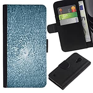 UNIQCASE - Samsung Galaxy S4 IV I9500 - Smashed Broken Glass - Cuero PU Delgado caso cubierta Shell Armor Funda Case Cover