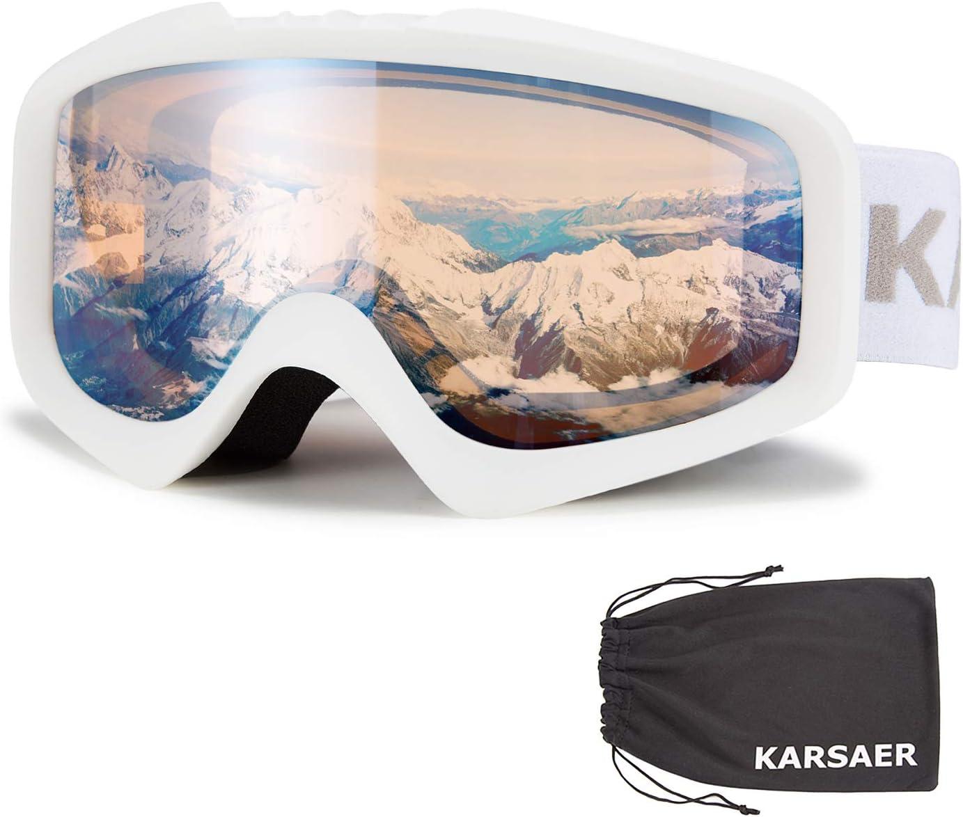 Karsaer Ski Goggles Anti-Fog Snowboard Goggles OTG 100 UV Protection Snow Goggles Bendable Dual-Lenses for Men Women Youth
