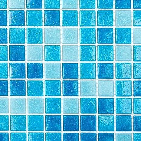 azul celeste Mosaico de vidrio Azulejos de mosaico ducha baño piscina