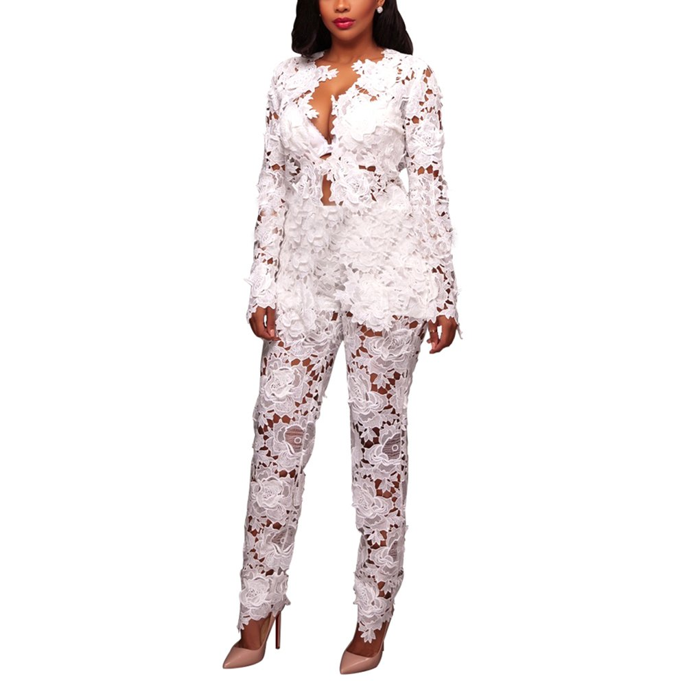 Women's Sexy Floral Lace Blazer Long Sleeve Bodycon Two Piece Jumpsuit Rompers Clubwear White M