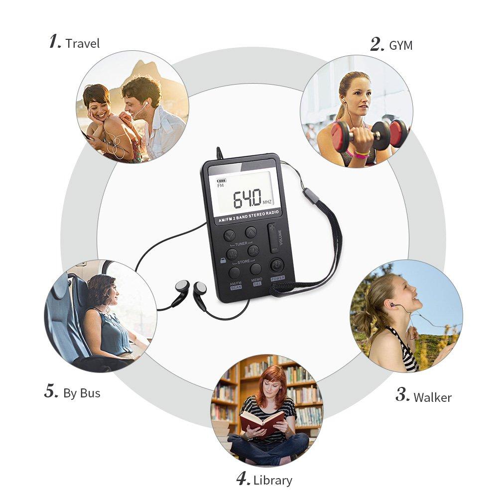 Mini Radio Portatile Digitale FM//AM Stereo Ricevitore Radio Tascabile con Cuffie//Auricolare Personale Radio USB Ricaricabile per Sportivi Corsa Jogging Camminare