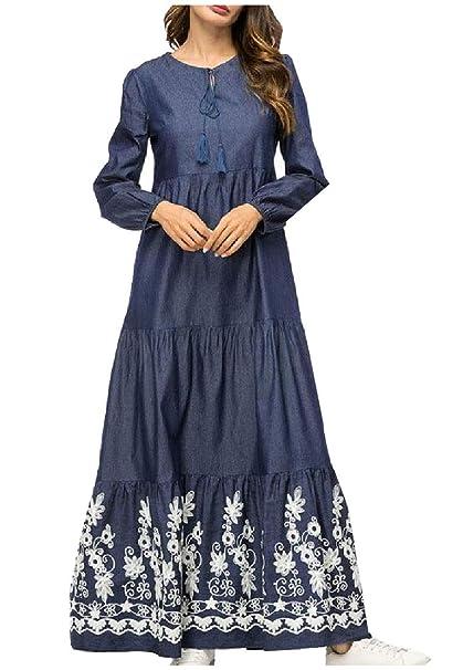5cb3b7edbb9 RDHOPE-Women Denim Abaya Jilbab Mermaid Muslim Long-Sleeve Maxi Dress at  Amazon Women s Clothing store