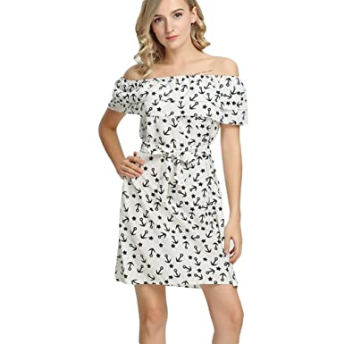 Howstar Women s Strapless Slash Neck Off Shoulder Ruffle Belt Mini Dress  (S 947b4033c