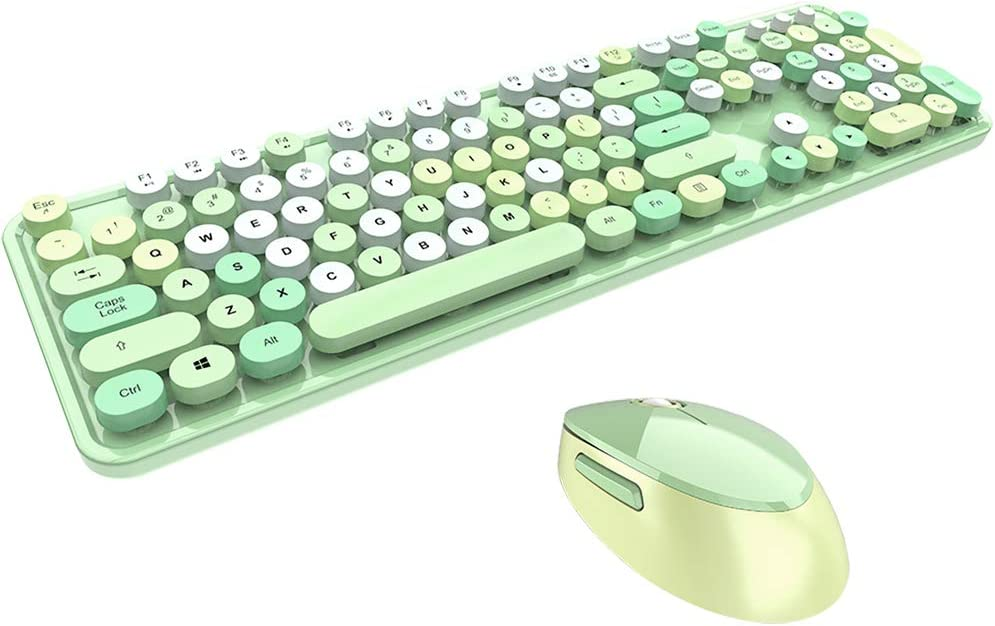 DoubleW Typewriter Keyboard and Mouse Combo 2.4GHz USB Wireless 104-Key Mechanical Feeling Keys Silent Quiet for Office and Gaming Qwerty Retro Steampunk Vintage Style Old Fashion Round Keycap Green