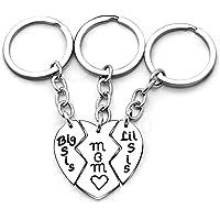 3pcs Mother Daughter Key Chain Mom Big Little Sister Love Broken Heart Pendant Gift for Family (Key Rings)