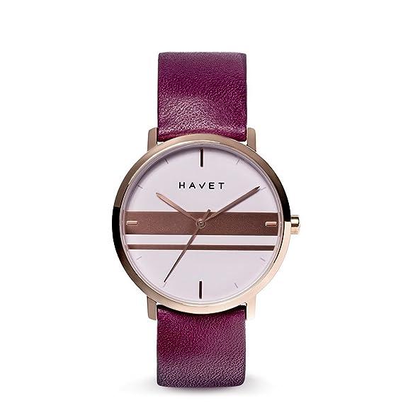 HAVET | Reloj de mujer Dyna de acero color oro rosa esfera malva con detalles en oro rosa y correa de piel burdeos: Amazon.es: Relojes
