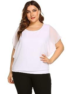 Plus Size Women Chiffon Blouse Batwing Sleeve Tops Scoop Neck Tunic Shirts cc102cb1632c