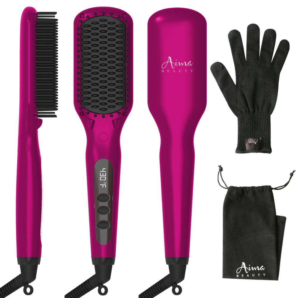 Ionic Hair Straightener Brush, Heated Straightening Iron Brush for Hair + LED Display + Adjustable Temperatures + Anti Scald Hair Comb +30s Fast Heating, Hair Care Comb Set for Travel & Salon by Aima Beauty