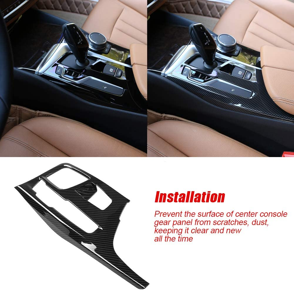 Gear Panel Cover Trim Carbon Fiber Style Center Console Gear Shift Panel Cover Trim for BMW 5 Series G30 2017-2018