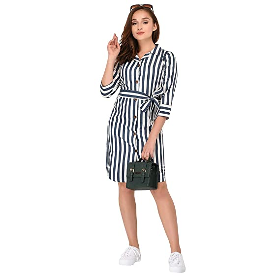 ff9d3f24fd76 Itrra Women s Cotton Blue and White Striped Collared Knotted Buttoned Down  Knee Length Shirt Dress (