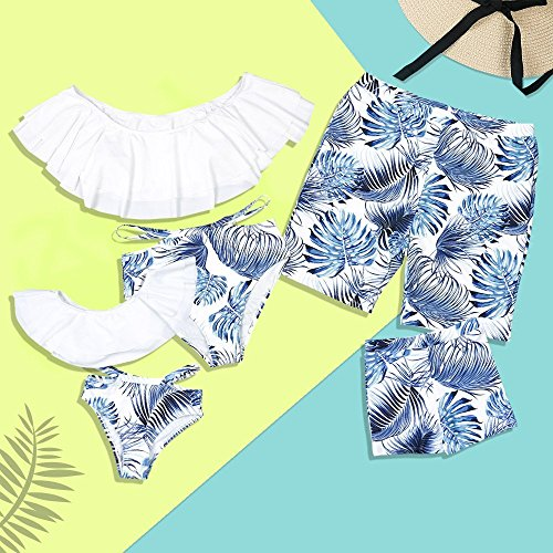 PatPat Family Swimwear Mommy and Me Matching Two Piece Palm Leaf Print Bikini Set with Sunflower Print White from Yaffi