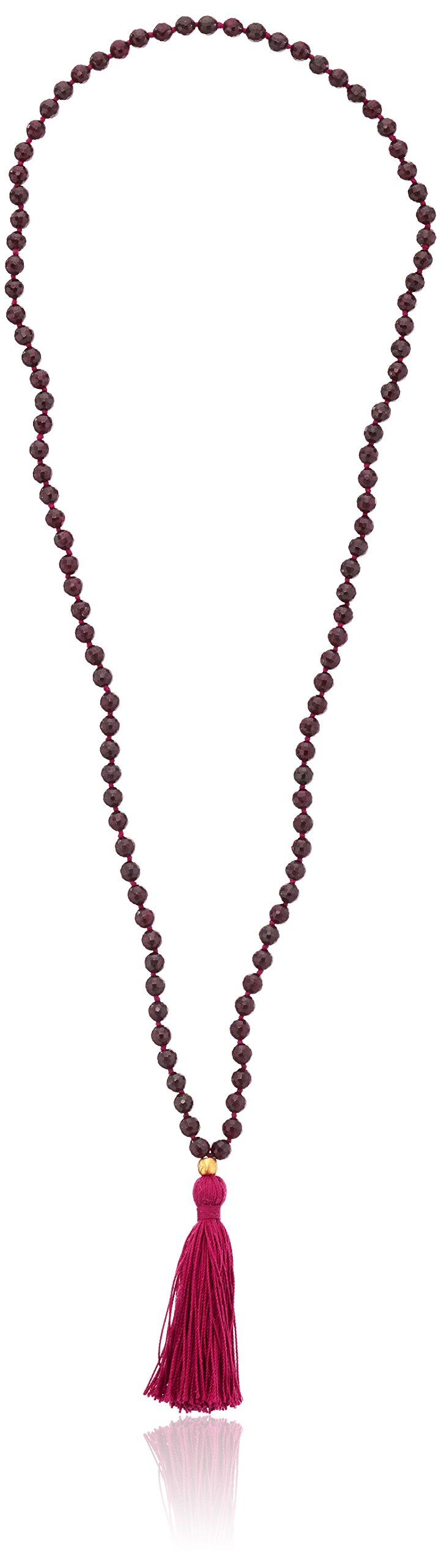 Satya Jewelry Gold Garnet Mala Strand Necklace (30-Inch)