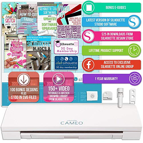 Silhouette Cameo 3 White Bluetooth Starter Bundle with 26 Oracal Vinyl Sheets, Transfer Paper, Class, Guide and 24 Sketch Pens by Silhouette America (Image #2)