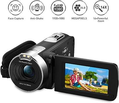 PRIKIM Videocámara Digital, HD 1080P 24MP, Zoom 16x, Rotación ...