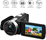 "PRIKIM Camcorder Digital Video Camera 1080P Full HD,24MP,16X Zoom,DV Portable Camera with 2.7"" TFT LCD 270 Degree Rotation Screen,Two Batteries Included"