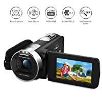 "PRIKIM Digital Video Camera 1080P Full HD Camcorder Cameras 24MP 16X Zoom DV Portable Camera with 2.7"" TFT LCD 270 Degree Rotation Screen,Two Batteries Included"