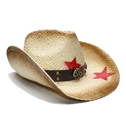 HongGXD 100% Paja para Mujeres Hombres Vaquera Occidental Sombrero de  Vaquero con Banda de Dinero 22bb4afed04