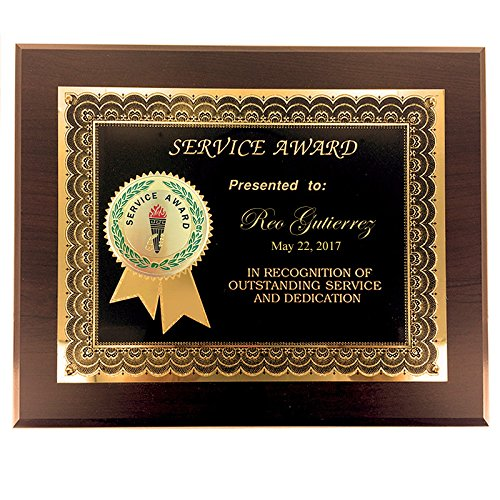 Customizable 8 x 10 Certificate Award Plaque with 2 Inch Years of Service Etched Enamel Brass Medallion, includes Personalization