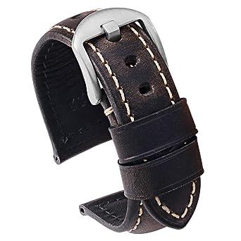 036b4e7b0 Carty Mens Watch Strap Vintage Oil Wax Smoke-Gray-Black Leather Watch Bands  24mm