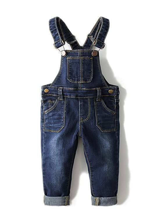 Kidscool Baby & Toddler Adjustable Deep Blue Washed Jeans Overalls,Blue,12-18 Months best baby jeans