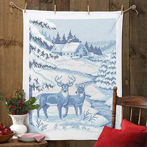 Herrschners Winter Blue Deer Lap Quilt Top Stamped Cross-Stitch