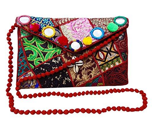 Main Traditionnel Fait Sac Rouge Indien Bandoulière À Femme PEEGLI Sac Bandoulière À Sac Bandoulière À IOSxUB
