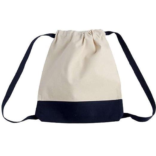 72e9e966f035 Bagiva Canvas Two-Tone Drawstring Backpack Rucksack Excursion Travel Sports  Bag