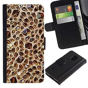 KingStore / Leather Etui en cuir / Samsung Galaxy S5 V SM-G900 / Gema Castaño Valor Oro