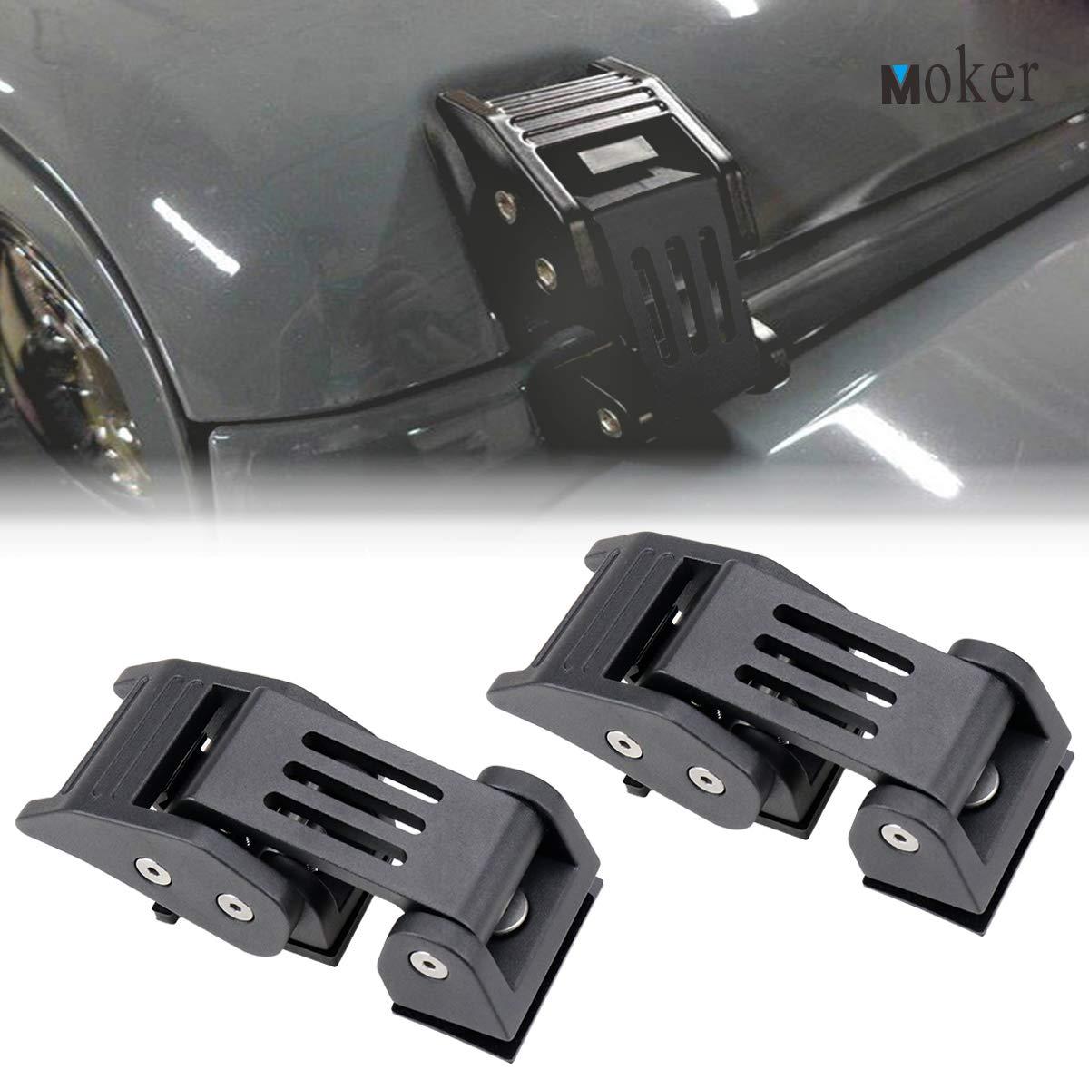Moker 53221 Heavy Duty Hood Latches Catch Set for 2007-2018 Jeep Wrangler JK & Unlimited - Pair