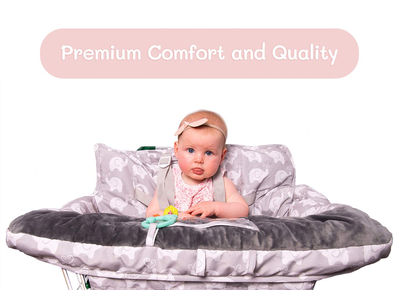 2-in-1 Baby Shopping Cart Cover and High Chair Protector - Germ-Protecting Seat Covers for Grocery Carts, Restaurant High-Chairs - Universal, Soft, Safe - Travel Gear for Babies, Infants by Tooshin Baby (Image #3)