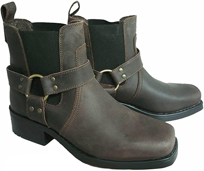 Harley Leather Pull On Western Harness Cow Biker Boots Amazon Co Uk