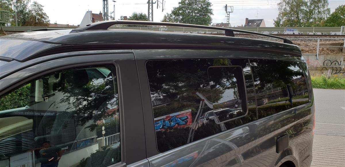 Roof rails for Mercedes Vito//Viano//V-Class Marco Polo from 2004 in aluminium black with T/ÜV and ABE