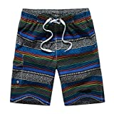NUWFOR Men's Casual Fashion Printing Beach Surfing Swimming Loose Quick Dry Short Pants White