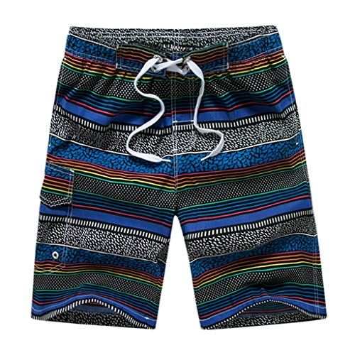 - ANJUNIE Men's Casual Color Collision Patchwork Pants Beach Loose Quick Drying Shorts (Blue3,M)